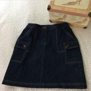 Ann Taylor LOFT A-line Denim Skirt Stretch Cargo